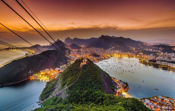 Picture sea, landscape, view, mountain, glow, Brazil, Rio de Janeiro, cable car, Sugar loaf