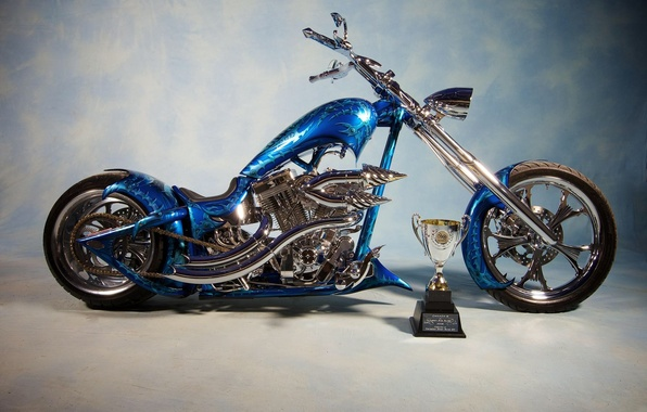 Picture BLUE, DESIGN, AIRBRUSHING, TUNING, CHOPPER, BIKE, CUP, The PRIZE