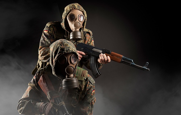 Picture weapons, background, machine, soldiers, gas mask, camouflage