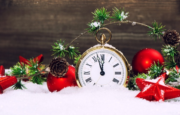 Picture stars, snow, watch, new year, snow, stars, merry christmas, clock, New year, Merry Christmas