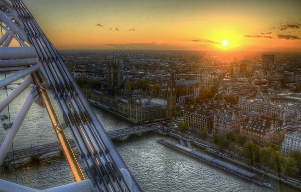 Picture London, Ferris wheel, Thames, UK, the view from the top