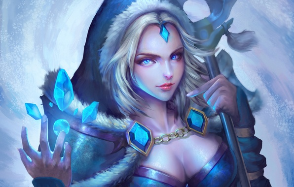 Picture girl, art, crystals, Crystal Maiden, Dota 2, Rylai