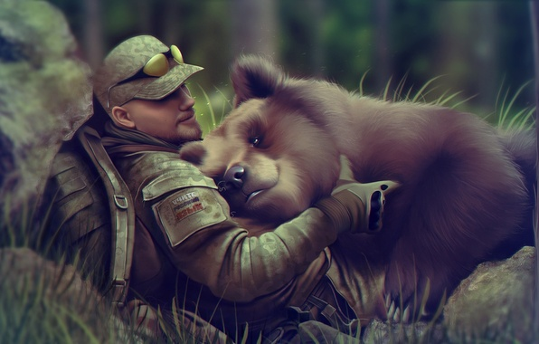 Picture forest, people, bear, art, glasses, male, cap, beast