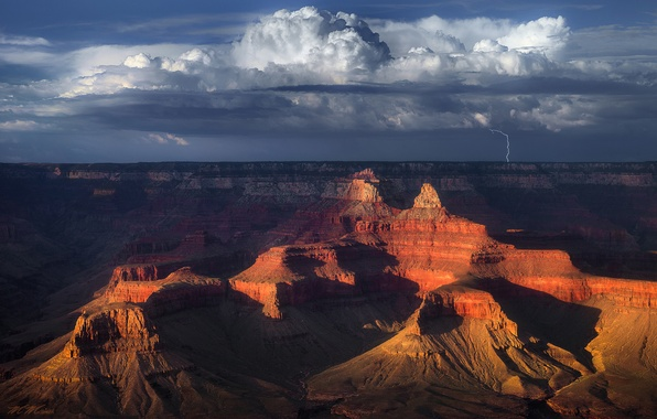 Picture the sky, clouds, mountains, rocks, lightning, desert, USA, Grand Canyon, Arizona, National Park Grand Canyon