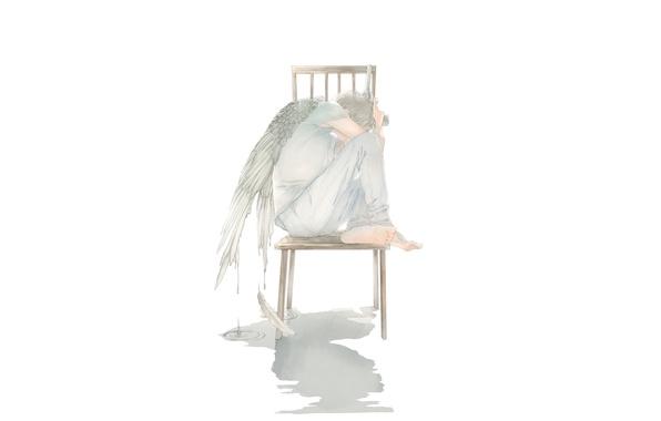 Picture drops, gun, wings, angel, art, chair, guy