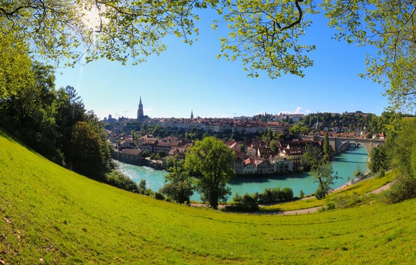 Picture trees, bridge, river, building, home, Switzerland, panorama, Switzerland, Bern, Bern, Aare river, Aare River, Brunnadern, …