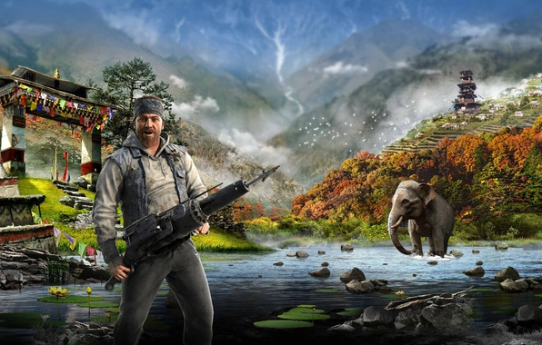 Picture Water, Mountains, Elephant, Harpoon, Ubisoft, Far Cry 4, Kyrat