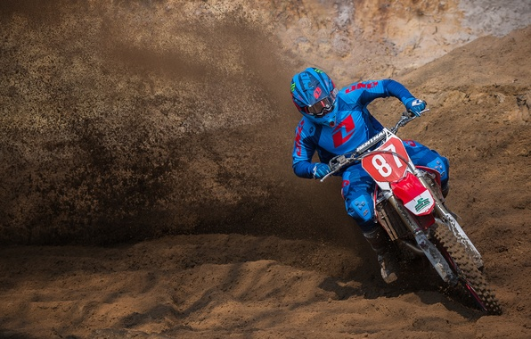 Picture earth, dust, pilot, motocross, race, extreme sports