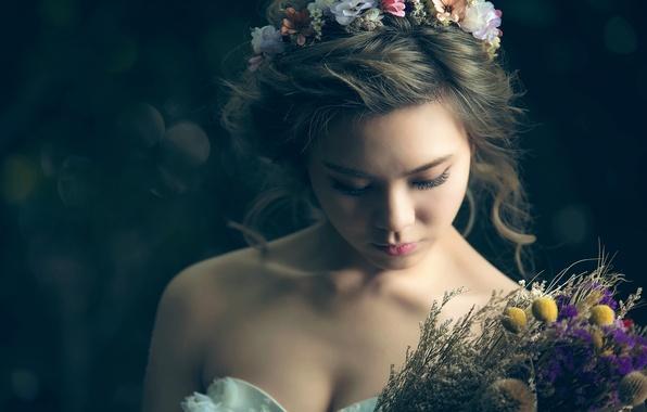 Picture bouquet, neckline, sponge, the beauty, the bride, wreath, bokeh