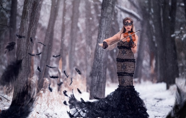 Picture forest, girl, snow, bird, violin, feathers, Symphony of the raven