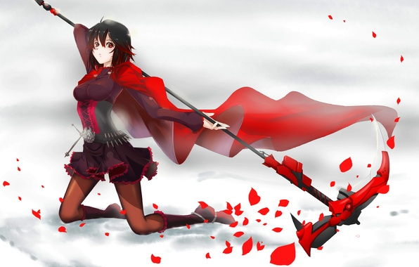 Picture girl, weapons, anime, petals, art, braid, cloak, rwby, ruby rose, sushu