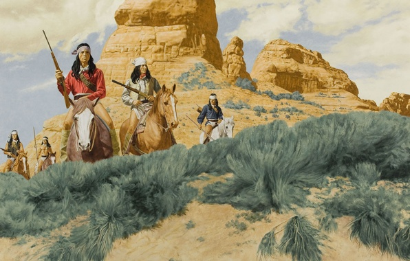 Picture figure, horses, guns, the Indians, riders