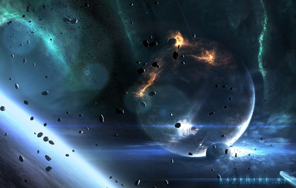 Picture space, stars, planet, ship, asteroids, space, stars, planets