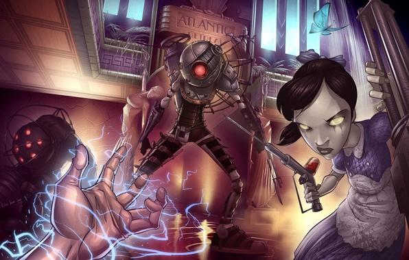 Wallpaper Bioshock 2 Little Sister Art Patrick Brown 2K Games Fan Big Daddy Rapture Images For Desktop Section