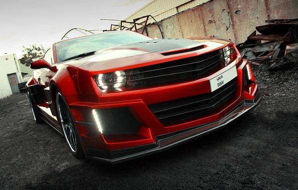 Picture car, auto, carbon, supercar, sportcar, red, front view, carbon, Chevrolet Camaro, chrome, Chevy Camaro