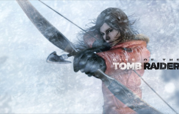 Picture girl, snow, the wind, bow, arrow, lara croft, Blizzard, tomb raider, Rise of the Tomb …
