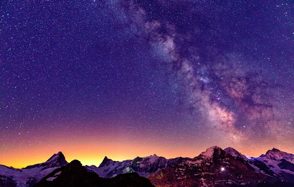 Picture the sky, stars, light, mountains, night, Switzerland, Alps, the milky way
