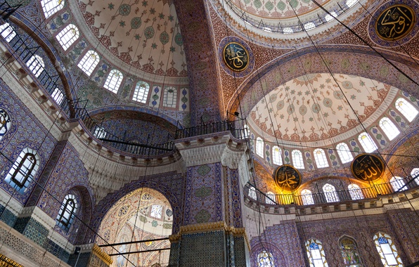 Picture pattern, arch, architecture, the dome, religion, Istanbul, column, new mosque
