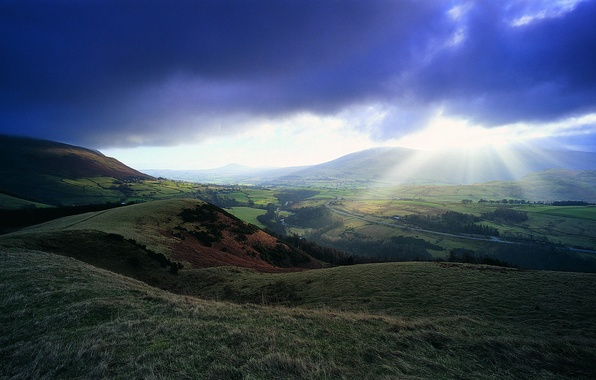 Picture the sky, the sun, clouds, rays, river, hills, valley, horizon