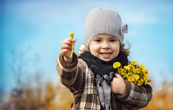 Picture flowers, nature, children, bouquet, spring, girl, child, mother and stepmother