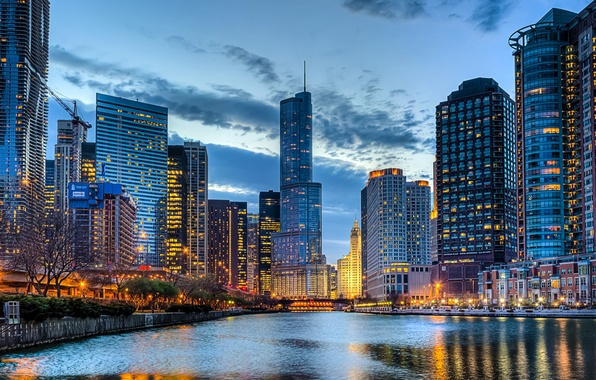 Picture the sky, clouds, the city, lights, river, building, home, skyscrapers, the evening, Chicago, USA, USA, …