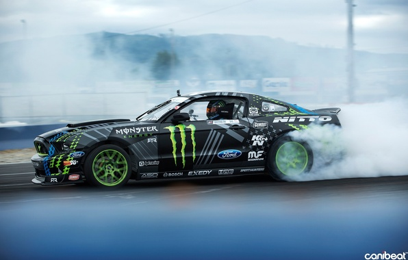Picture car, smoke, sport, drift, ford mustang