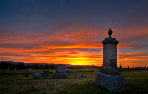 Picture sunset, cemetery, Lakeview