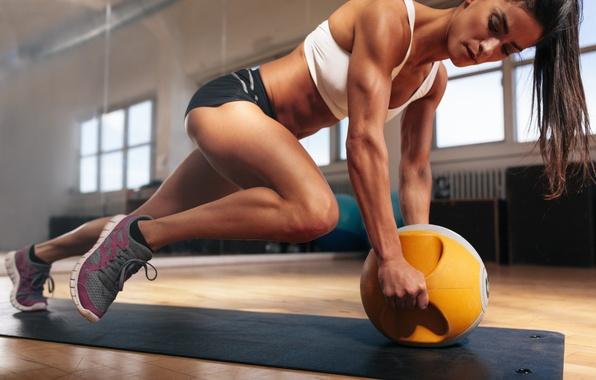 Picture brunette, pose, workout, fitness, abs, training ball, hard work
