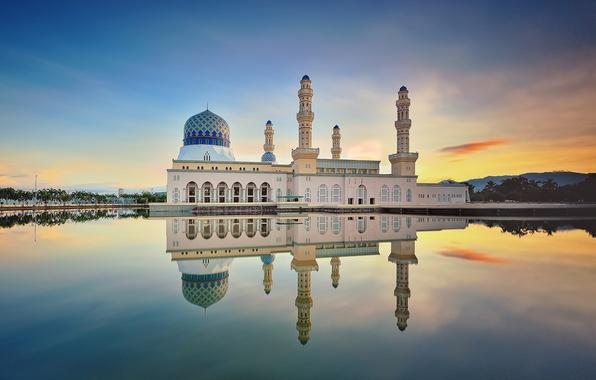 Picture clouds, reflection, morning, mirror, Malaysia, Likas Bay, Kota Kinabalu city Mosque, sand road, the Likas …