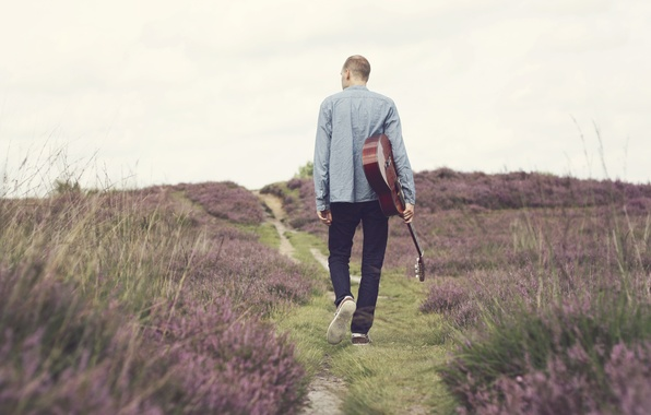 Picture music, guitar, flowers, man, path, walking