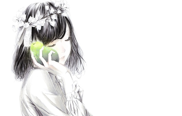 Picture flowers, Girl, tape, pear, wreath, art, Sawasawa
