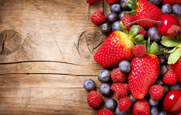 Photo wallpaper berries, raspberry, blueberries, strawberry