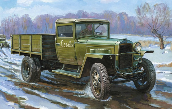 Picture car, truck, army, Soviet, WW2., sample, lorry, 5 t, Gorky, automobile, frontovichek, 1500 kg, 1943, …
