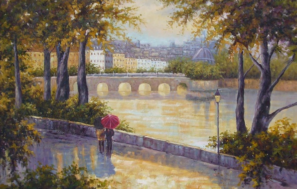 Picture trees, people, city, mood, landscapes, figure, people, picture, art, drawings, pictures, bridges