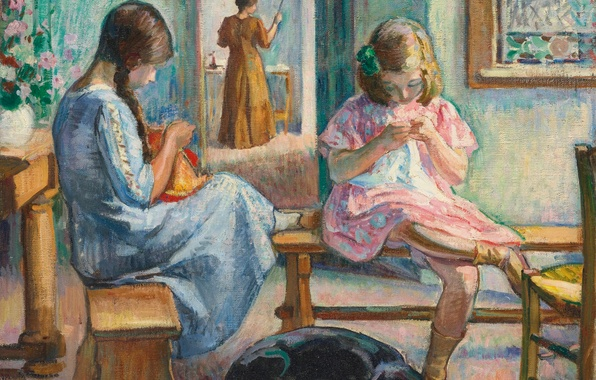 Picture room, girls, dog, picture, genre, Henri Lebacq, Sewing Girls
