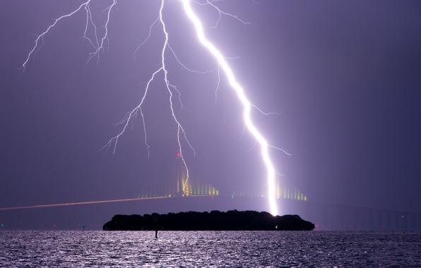 Picture the storm, the sky, bridge, element, lightning