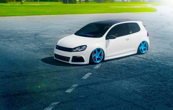 Picture Volkswagen, Grass, Blue, Sun, Color, White, Golf, Stance, Wheels, Royal, Beam, Panchito