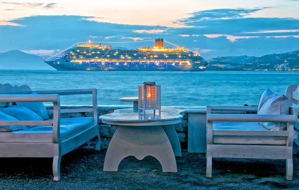 Picture sea, the sky, clouds, mountains, lights, table, stay, ship, chair, the evening, Greece, liner, Mykonos …