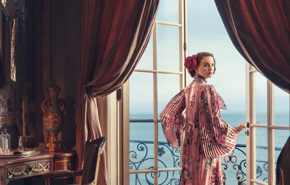 Picture sea, look, style, room, view, interior, door, dress, actress, brunette, hairstyle, photographer, balcony, Natalie Portman, …