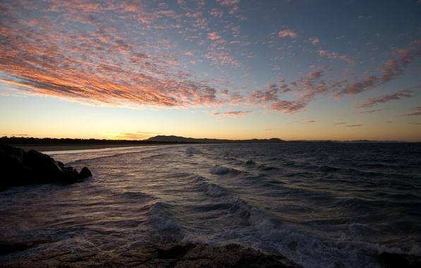 Picture sea, wave, summer, landscape, sunset, nature, stones, the evening