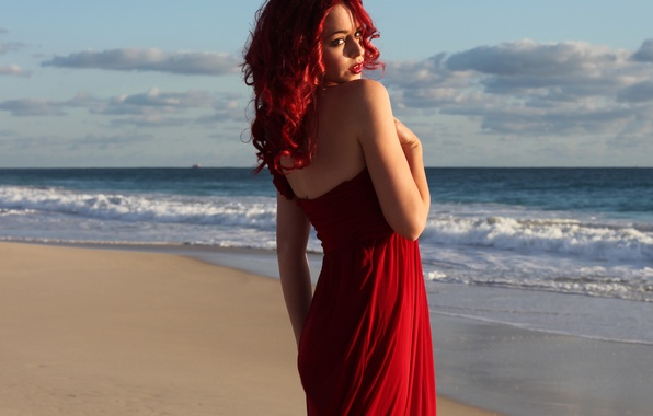 Picture sea, wave, beach, look, girl, face, red dress, red hair