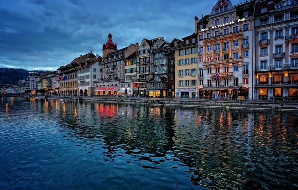 Picture building, Switzerland, promenade, Switzerland, Lucerne, Lucerne, the Reuss river, Reuss River
