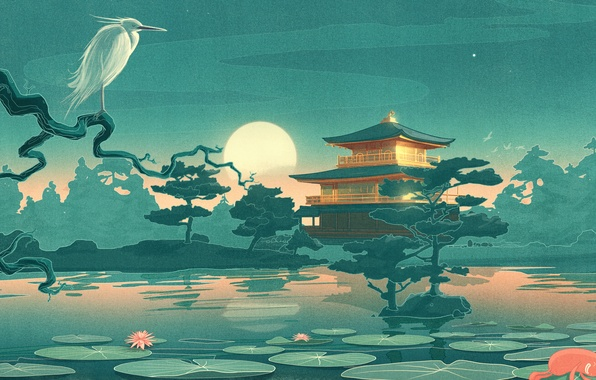 Picture the sky, trees, landscape, night, lake, house, the moon, figure, Japan, Lily, temple, Heron