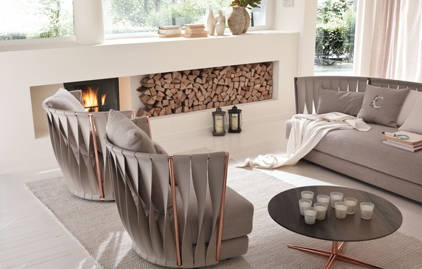 Picture sofa, interior, chair, fireplace, table