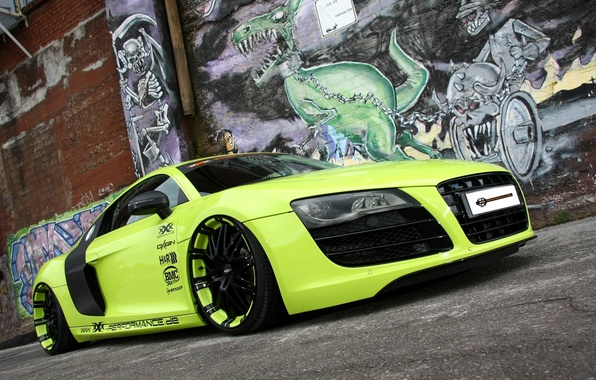 Picture background, wall, Audi, tuning, Audi, green, supercar, grafiti, tuning, the front, V10, B10, XXX Performance