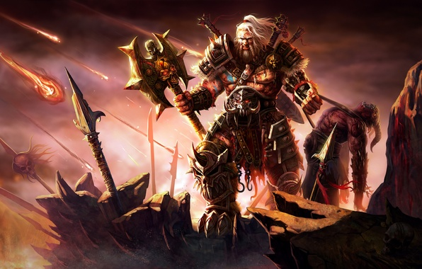 Picture Blizzard, Art, Diablo 3, Warrior, Weapons, Blizzard Entertainment, Fan Art, Demon, Barbarian, Armor, Video Game, ...
