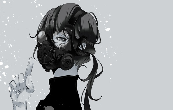 Picture squirt, fragments, Girl, gas mask