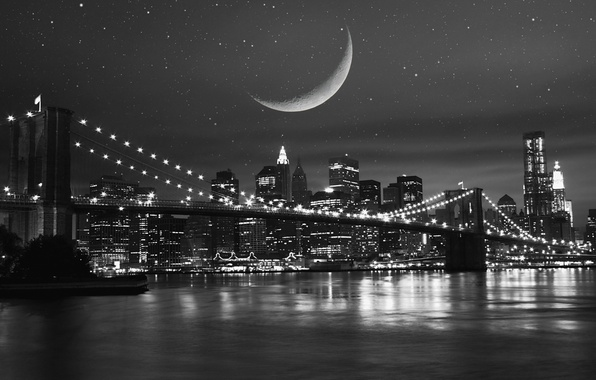 Picture the sky, stars, night, bridge, city, the city, lights, lights, reflection, river, the moon, building, …