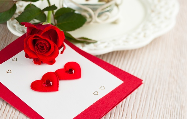 Picture flower, rose, heart, hearts, red, postcard