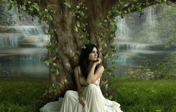 Picture girl, tree, dress